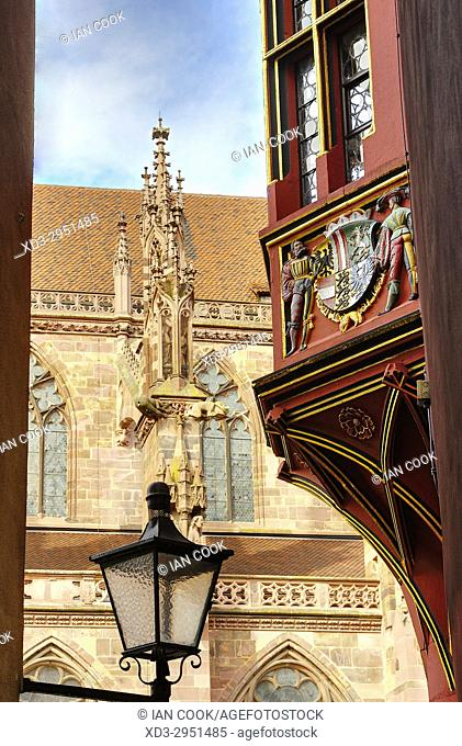 architectural detail, Old Town, Freiburg, Baden-Wurttemberg, Germany