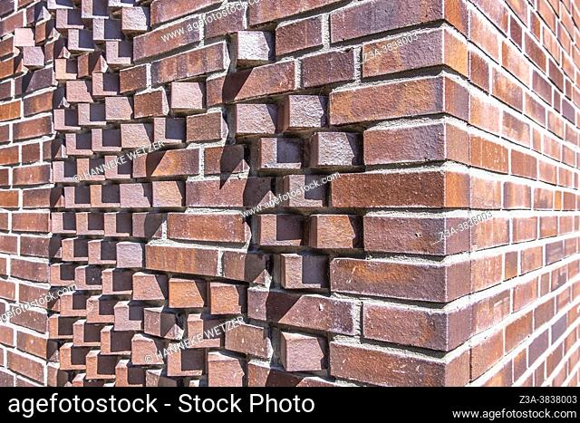 Special brick pattern at Strijp-S in Eindhoven, The Netherlands, Europe
