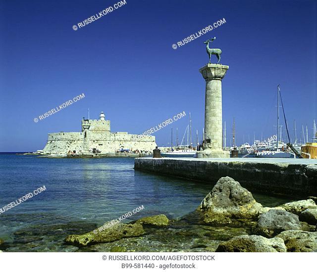 Stag Columns, Mandraki Harbour, Rhodes, Greece