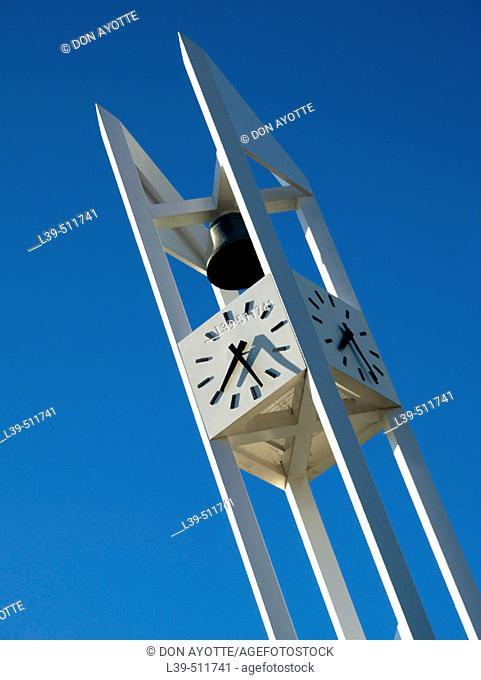 Church clock in Arlington. Massachusetts, USA