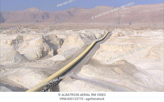 Aerial footage of a pipeline in the Desert