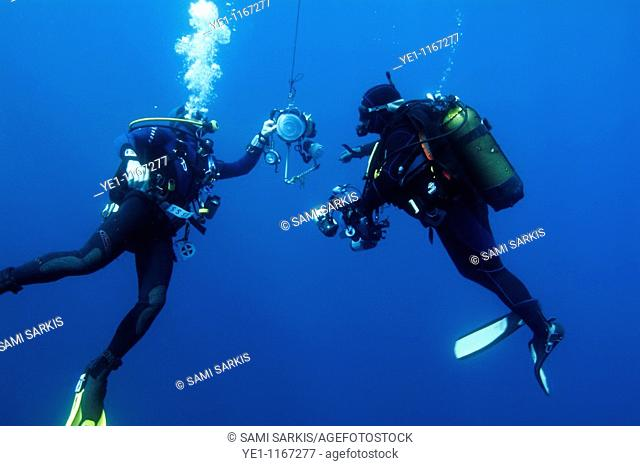 Two scuba divers inspect their underwater photography equipment, La Ciotat, France