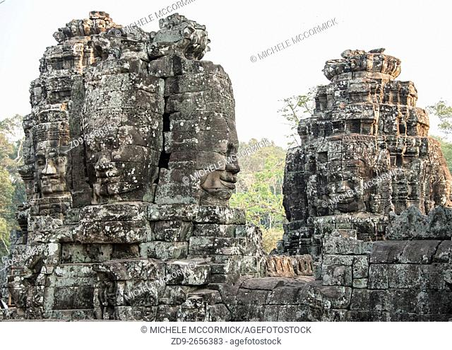 Immense carved faces distinguish the temple of Angkor Thom