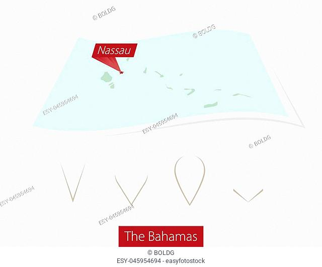 Curved paper map of The Bahamas with capital Nassau on Gray Background. Four different Map pin set. Vector Illustration