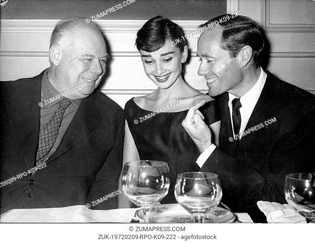 Oct. 24, 1955 - Paris, France - Actress AUDREY HEPBURN dines with producer and husband MEL FERRER, prior to beginning filming their latest movie, 'Red Carnation