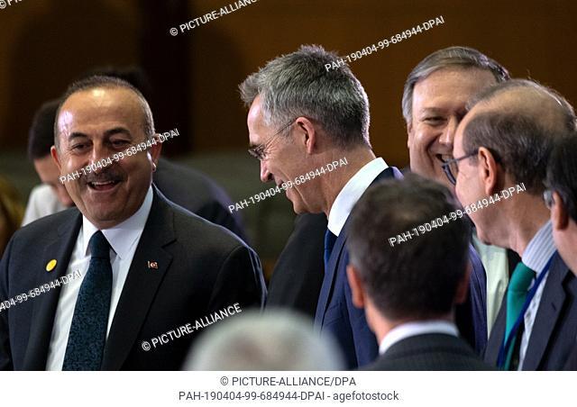 04 April 2019, US, Washington: Mevlüt Çavu·o·lu (l-r), Turkish Foreign Minister, Jens Stoltenberg, NATO Secretary General and Mike Pompeo, US Secretary of State