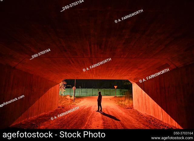 Stockholm, Sweden A man walking in a red pedestrian tunnel at nght