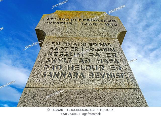 Ari Frodi Thorgilsson Memorial at Stadarstadur Church, Snaefellsnes Peninsula, Iceland *** Local Caption *** Ari Frodi Thorgilsson Memorial at Stadarstadur...