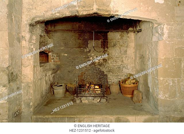 Kitchen hearth, Portland Castle, Weymouth, Dorset, 1998. The bread oven can be seen to the left. Food for the garrison was cooked in the huge kitchen fireplace