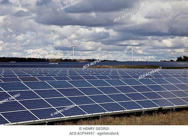 Large solar farm with windmills in background in southwestern Ontario (near Lake Erie), Ontario, Canada