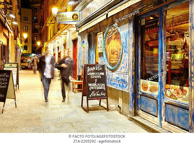 Downtown restaurants and tapas bars. Madrid. Spain