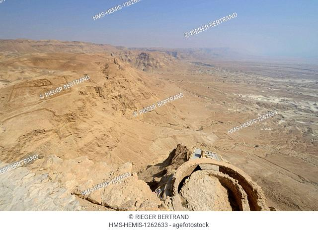 Israel, Negev Desert, Masada fortress, listed as World Heritage by UNESCO, northern Herod palace, the private residence extended down to three levels