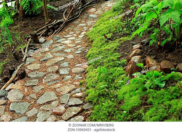 Old cobblestone footpath in the garden