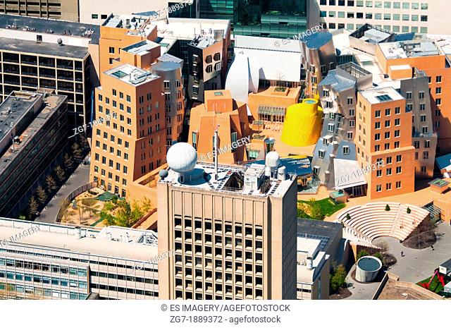 Aerial view of the Gehry-designed Stata Center at the Massachusetts Institute of Technology, Cambridge, MA