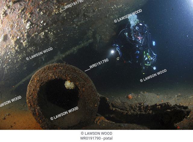 Under big gun of German Battleship Markgraf, Scapa Flow, Orkney Islands, Scotland, UK