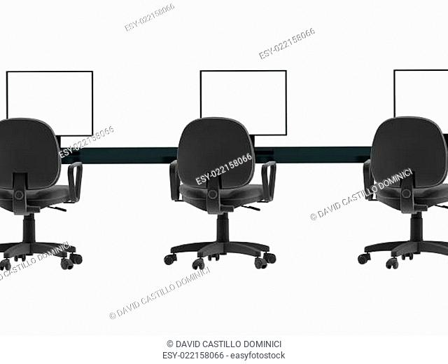 Workplace. Laptops, chairs, tables 3d