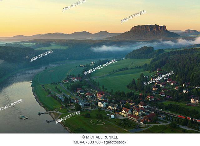 Overlook over the saxony switzerland at sunrise, Saxony, Germany