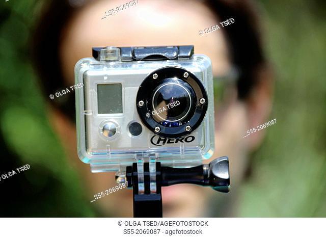 Video camera HERO and a face, Via Verde Girona-St. Feliu de Guixols, Catalonia, Spain