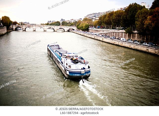 Tour Boat on the Seine River, Paris, France