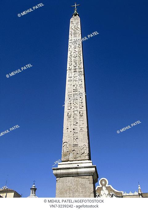 Flaminio Obelisk (Italian: Obelisco Flaminio) located in Piazza del Popolo, Rome, Italy, Europe