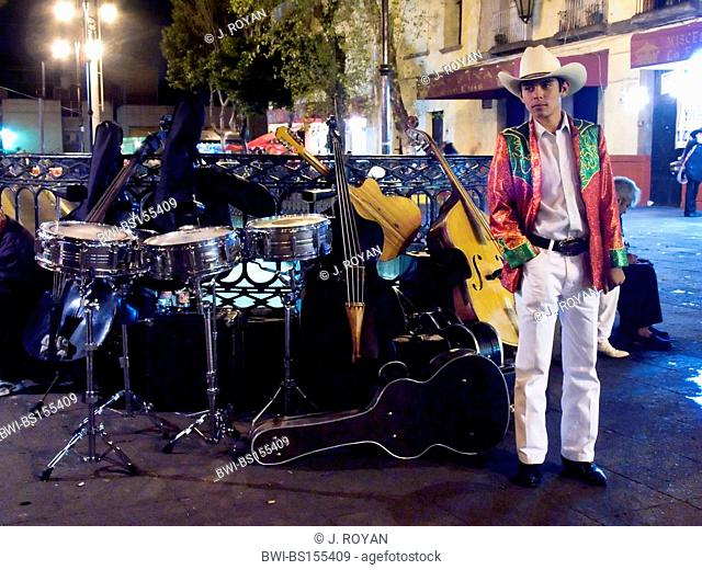 A drum player with instruments. Mariachis in Plaza Garibaldi, Mexico, Mexico City