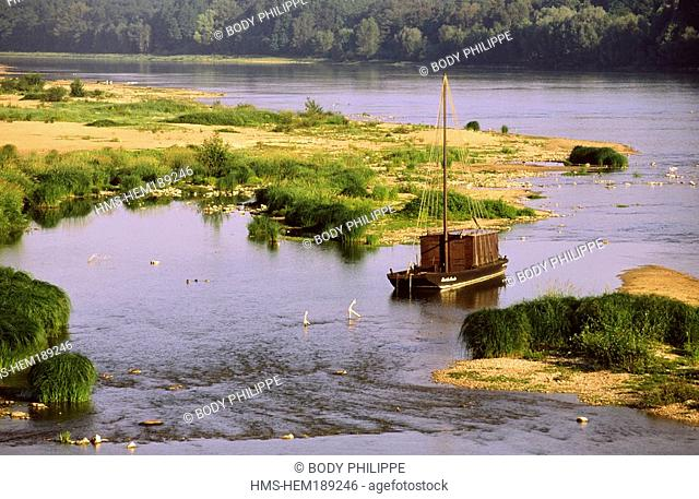 France, Loiret, Loire Valley listed as World Heritage by UNESCO, Chateauneuf sur Loire, toue cabanee traditional flat boat of Loire River