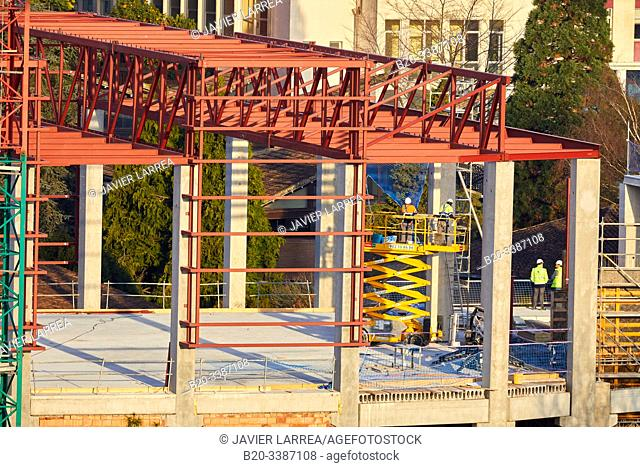 Building construction, metal structure, University of Deusto, Donostia, San Sebastian, Gipuzkoa, Basque Country, Spain, Europe