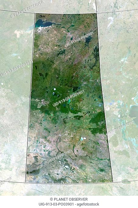 Satellite view of Saskatchewan, Canada. This image was compiled from data acquired by LANDSAT 5 & 7 satellites
