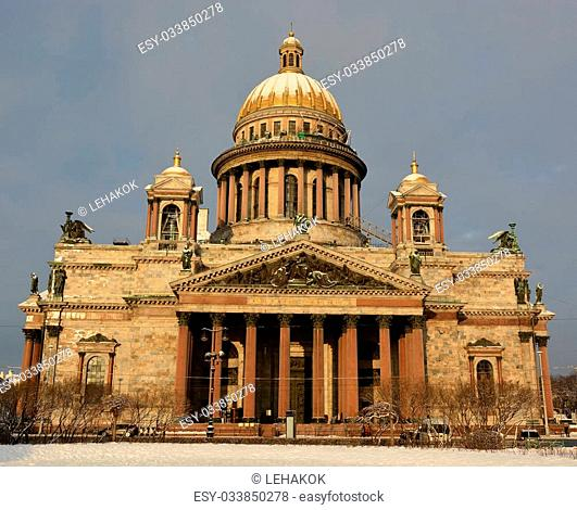 SAINT-PETERSBURG, RUSSIA- JANUARY 25: The famous St. Isaac cathedral, the symbol of Saint-Petersburg city on January 25, 2015 in Saint-Petersburg, Russia