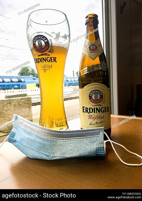 International Train, Germany. Only to drink a beer a facemask may be temporarily romoved