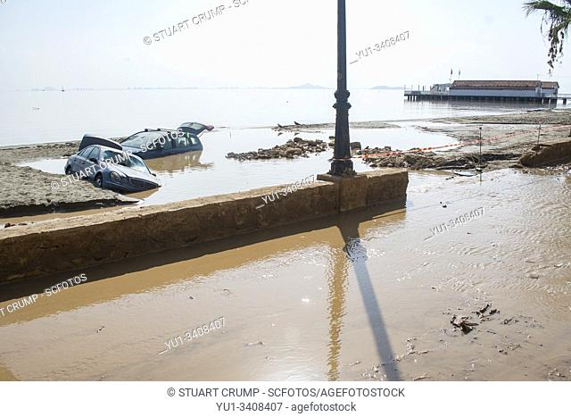 "Flood damage following a """"gota fria"""" in the Spanish town of Los Alcazares in Murcia Spain"
