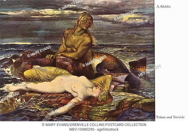 Reproduction of a work by Arnold Bocklin (1827–1901) a Swiss symbolist painter, entitled Triton and Nereid. See: 10949416 for an alternate version of the same...