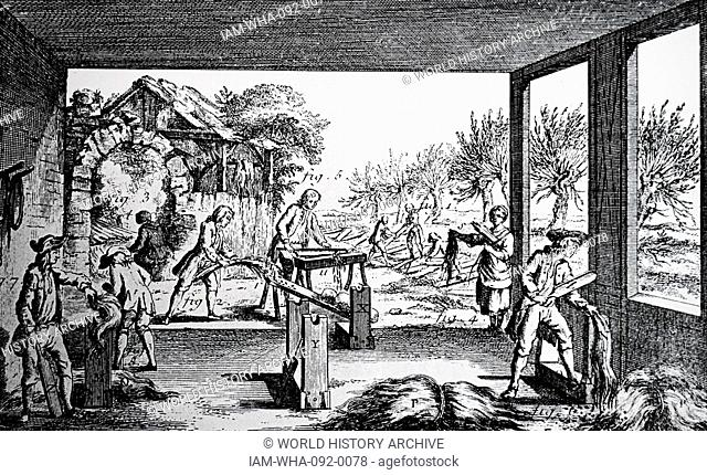 Illustration of hemp being prepared to be threaded and twisted to make rope. Dated between 1751-1780