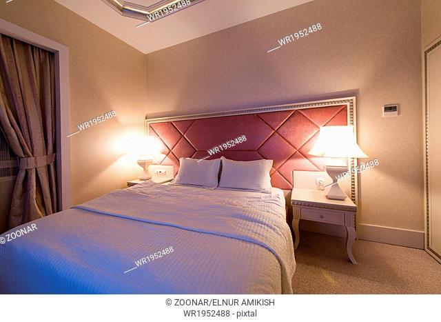 GABALA - MAY 18: Room in Riverside Hotel on May 18, 2014 in Gabala, Azerbaijan. Riverside hotel is first 5 star hotel in Gabala, Azerbaijan
