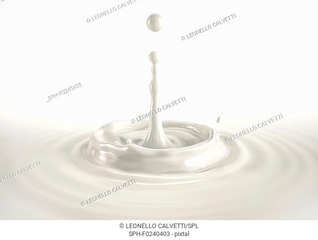 One single milk drop splashing in milk pool with ripples. On white background
