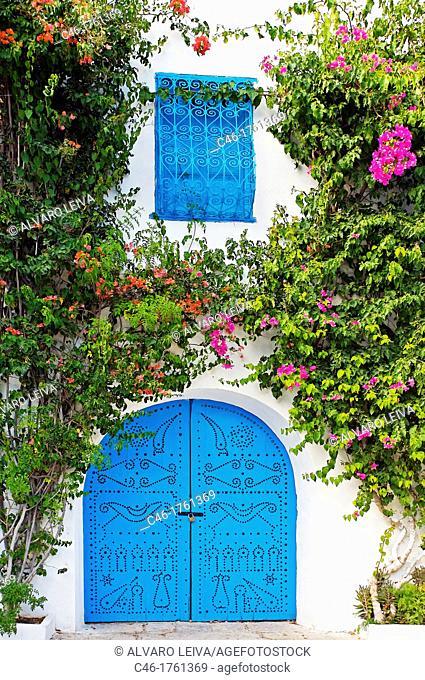 Door, Village of Sidi Bou Said near Tunis  Tunisia