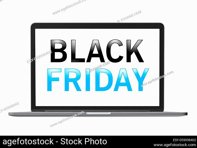 Black Friday text on laptop screen, isolated on white