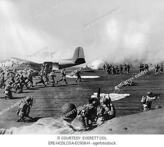 World War II, U.S. paratroopers in action, circa 1940-1946