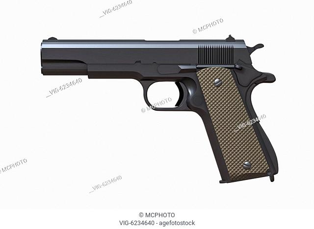 3d illustration of a typical pistol isolated on white - 01/01/2018