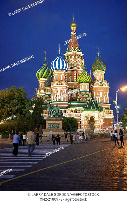 St. Basil's Cathedral at night, Red Square, Moscow, Russia
