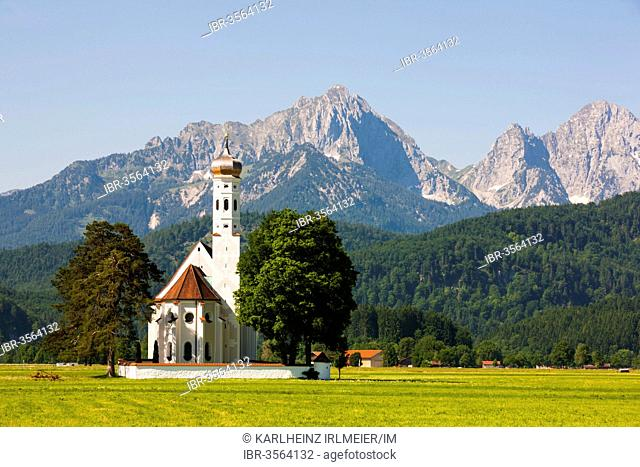 Baroque Church of St. Coloman in front of the Tannheim Mountains