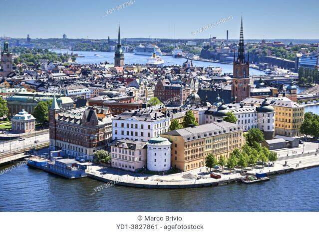Aerial view of Stockholm old town. Riddarholmen Island. Sweden