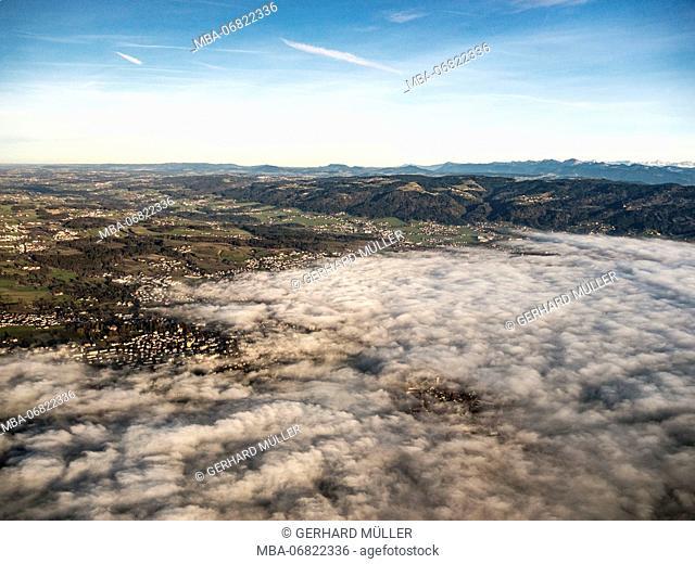 View ofthe Allgäu region, clouds above Lindau on Lake Constance