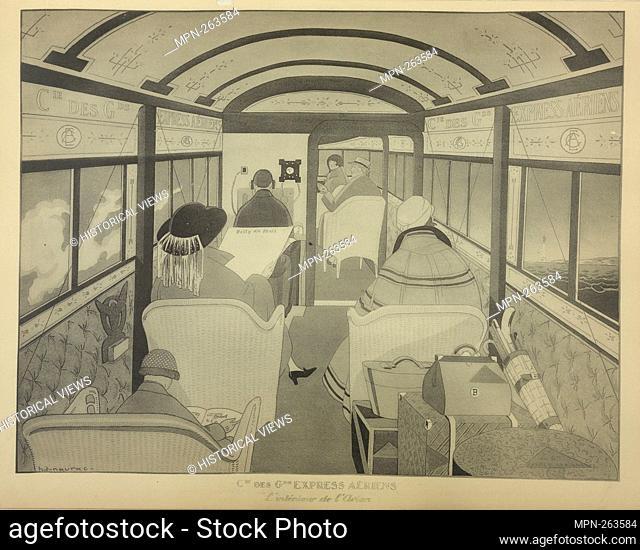 Estampe montrant l'intérieur d'un avion acommercial destiné au transport des voyagers sur la ligne Paris-Londres. Additional title: Cie des GDS Express Aériens