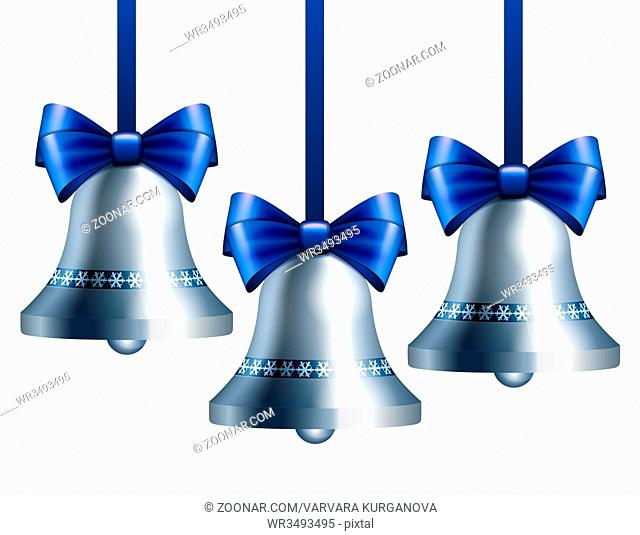 Silver bells with blue ribbon hanging on blue ribbons. Vector illustration