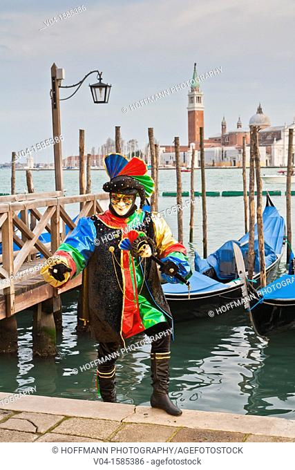 A masked harlequin at the carnival in Venice, Italy, Europe