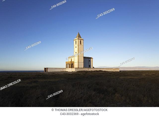 The abandoned church Iglesia de Almadraba de Monteleva. Also called Iglesia de las Salinas de Cabo de Gata or Iglesia de San Miguel. At sunrise