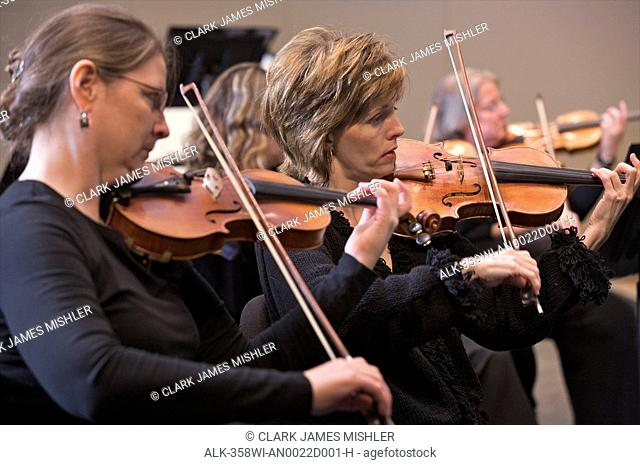 Anchorage Symphony Orchestra string section performs, Anchorage, Alaska