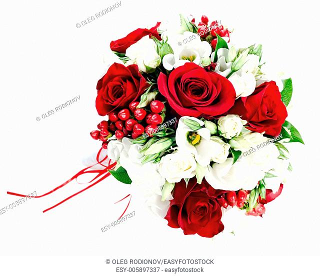 Flower wedding bouquet from white and red roses isolated on white background