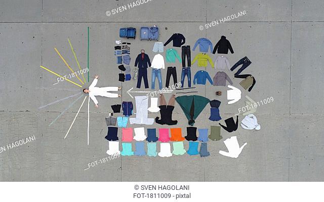 Knolling teenage boy and clothing wardrobe